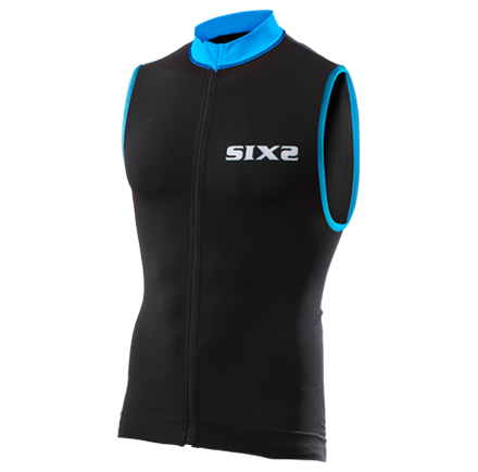 BIKE JERSEY SMANICATO SIX2 BLACK/LIGHT BLUE BIKE2 STRIPES