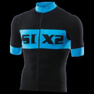 BIKE JERSEY MANICHE CORTE SIX2 LUXURY BLACK/LIGHT BLUE BIKE3 LUXURY